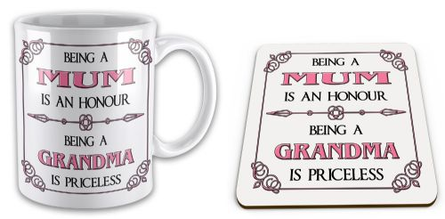 Being A... Is An Honour Being A... Is Priceless Novelty Mug with Coaster Gift Set - Pink